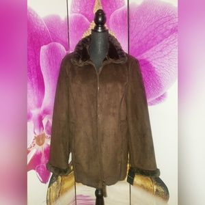 New York & Company Suede and Faux Fur Coat